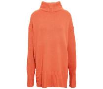 Oversized Wool-blend Turtleneck Sweater Orange