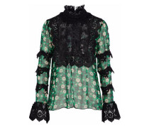 Printed silk-blend chiffon top