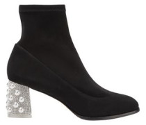 Embellished Stretch-suede Ankle Boots Black