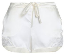 Lace-trimmed silk-blend satin pajama shorts