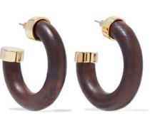 Gold-tone wood hoop earrings