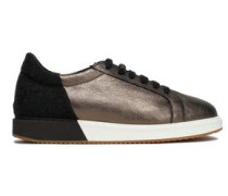 Metallic textured-leather and felt sneakers
