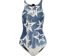 Printed Neoprene Swimsuit Petrol