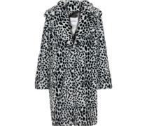 Woman Printed Faux Fur Coat White