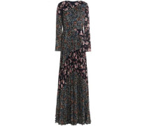 Pleated Floral-print Crinkled Georgette Gown Midnight Blue