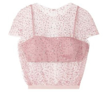 Cropped Embellished Tulle Top Blush
