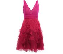 Woman Velvet-trimmed Pleated Tulle Mini Dress Fuchsia