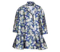 Oversized double-breasted gathered lamé jacket