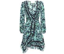 Woman Lace-trimmed Floral-print Mini Georgette Wrap Dress Midnight Blue