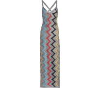 Metallic pointelle-knit maxi dress