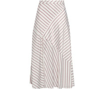 Paneled Striped Satin-crepe Midi Skirt White Size 0