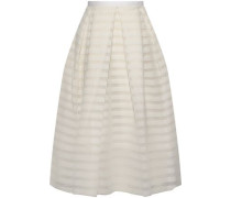 Ina Pleated Striped Organza Skirt White Size 14