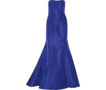 Strapless ruffled silk-faille gown