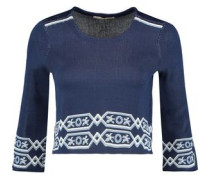 Mathieu cropped jacquard-knit sweater