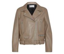 Belted leather biker jacket