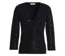 Sequined stretch-knit top