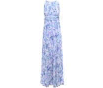 Pleated Printed Georgette Gown Lavender