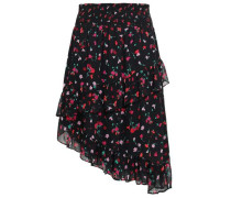 Floral-print Silk-georgette Skirt Black