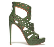 Laser-cut Leather Sandals Forest Green