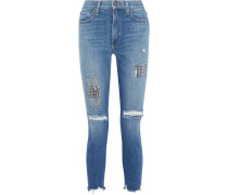 Woman Good Distressed Studded High-rise Skinny-leg Jeans Mid Denim