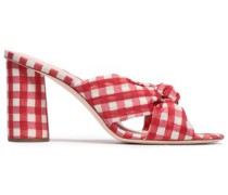 Knotted Gingham Organza Mules Red