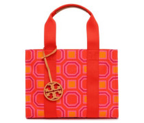 Leather-trimmed Printed Canvas Tote Papaya Size --