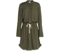 Frayed textured-jersey mini dress