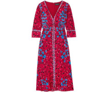 Floral-print Silk Crepe De Chine Dress Crimson