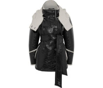 Bethwin Double-breasted Faux Patent-leather And Wool-blend Hooded Coat Black