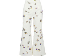Tyme cropped floral-print cotton-corduroy flared pants