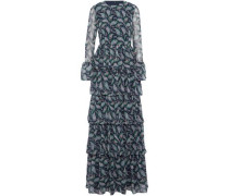 Tiered ruffled printed chiffon gown