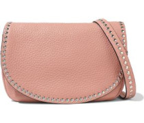 Woman Studded Textured-leather Shoulder Bag Baby Pink