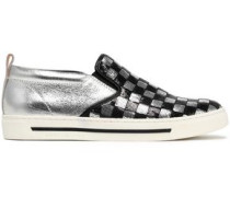 Sequin-embellished smooth and metallic cracked-leather slip-on sneakers
