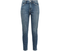 The High Waist Stiletto Faded High-rise Skinny Jeans Mid Denim