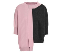 Asymmetric Two-tone Wool Top Baby Pink