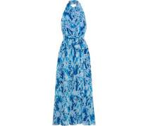 Belted Printed Chiffon Halterneck Gown Indigo