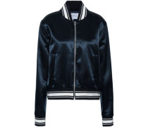 Flocked Satin Bomber Jacket Navy