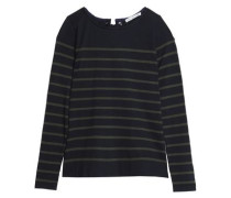 Lace-up striped cotton-blend sweater