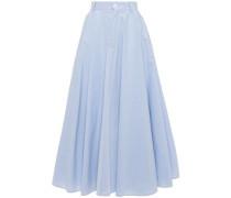 Woman Flared Striped Cotton-poplin Midi Skirt Light Blue