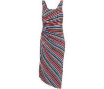 Aruba ruched striped stretch-jersey dress