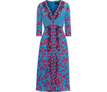 Eve Button-detailed Floral-print Silk Crepe De Chine Dress Turquoise
