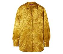 Woman Sander Crinkled Satin-twill Shirt Mustard