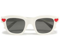 Woman D-frame Crystal-embellished Acetate Sunglasses White