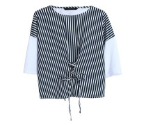 Betina lace-up striped poplin and cotton-jersey top