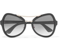 Square-frame Acetate Gold-tone Sunglasses Black Size --