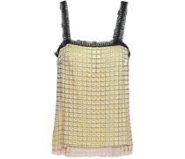 Woman Crystal-embellished Macramé Top Blush