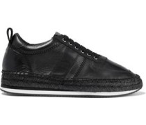 Leather Espadrille Sneakers Black