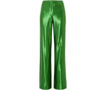 Woman Satin Wide-leg Pants Green