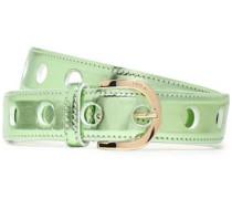Metallic Leather Belt Light Green