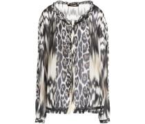 Ruffle-trimmed printed silk-chiffon blouse